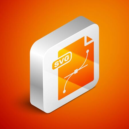 Isometric SVG file document. Download svg button icon isolated on orange background. SVG file symbol. Silver square button. Vector Illustration  イラスト・ベクター素材