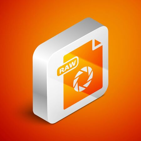 Isometric RAW file document. Download raw button icon isolated on orange background. RAW file symbol. Silver square button. Vector Illustration Çizim