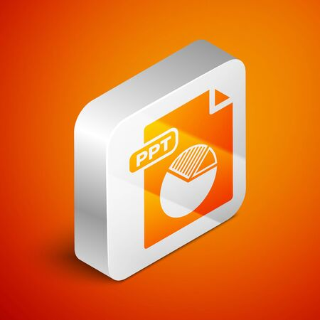 Isometric PPT file document. Download ppt button icon isolated on orange background. PPT file presentation. Silver square button. Vector Illustration