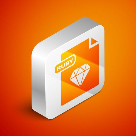 Isometric RUBY file document. Download ruby button icon isolated on orange background. RUBY file symbol. Silver square button. Vector Illustration
