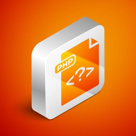 Isometric PHP file document. Download php button icon isolated on orange background. PHP file symbol. Silver square button. Vector Illustration Illusztráció