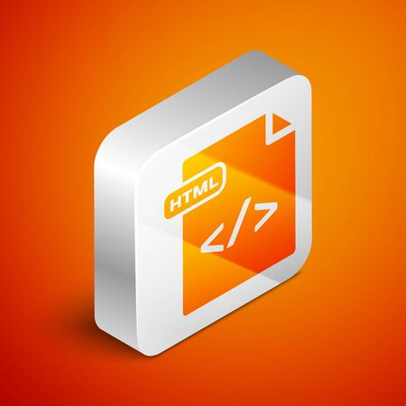 Isometric HTML file document. Download html button icon isolated on orange background. HTML file symbol. Markup language symbol. Silver square button. Vector Illustration