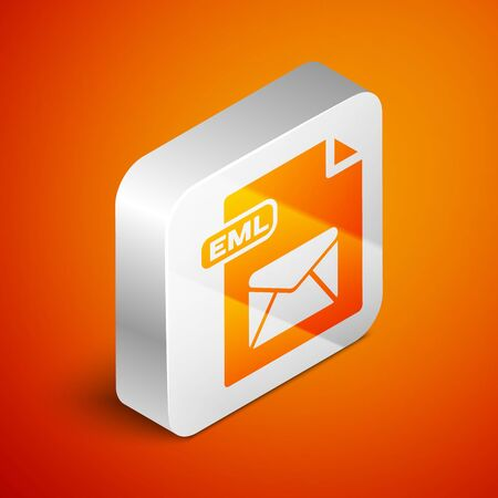 Isometric EML file document. Download eml button icon isolated on orange background. EML file symbol. Silver square button. Vector Illustration Çizim