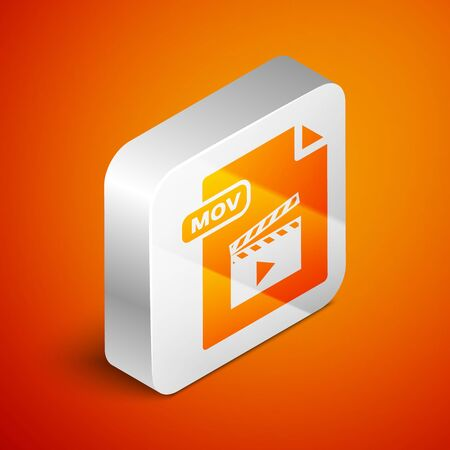 Isometric MOV file document. Download mov button icon isolated on orange background. MOV file symbol. Audio and video collection. Silver square button. Vector Illustration