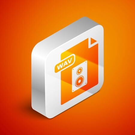 Isometric WAV file document. Download wav button icon isolated on orange background. WAV waveform audio file format for digital audio riff files. Silver square button. Vector Illustration Çizim