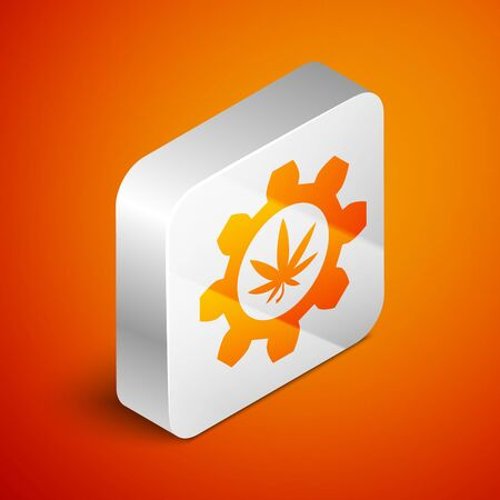 Isometric Chemical test tube with marijuana or cannabis leaf icon isolated on orange background. Research concept. Laboratory CBD oil concept. Silver square button. Vector Illustration Иллюстрация