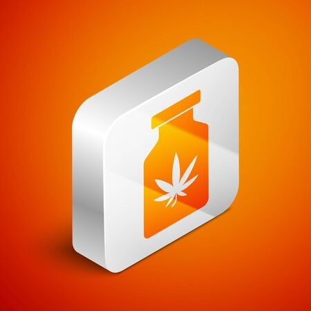 Isometric Medical bottle with marijuana or cannabis leaf icon isolated on orange background. Mock up of cannabis oil extracts in jars. Silver square button. Vector Illustration Иллюстрация