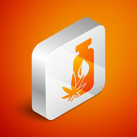Isometric Medical marijuana or cannabis leaf olive oil drop icon isolated on orange background. Cannabis extract. Hemp symbol. Silver square button. Vector Illustration