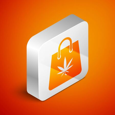 Isometric Shopping paper bag of medical marijuana or cannabis leaf icon isolated on orange background. Buying cannabis. Hemp symbol. Silver square button. Vector Illustration