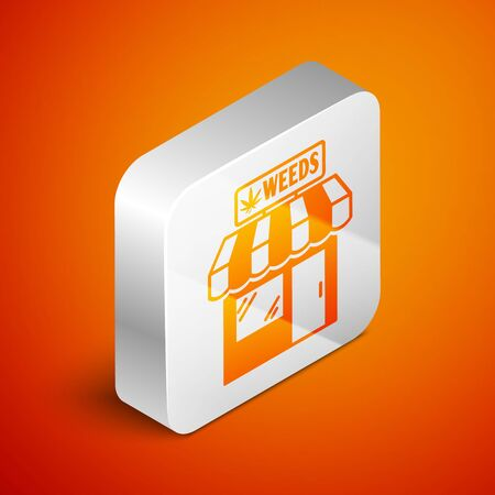 Isometric Marijuana and cannabis store icon isolated on orange background. Equipment and accessories for smoking, storing medical cannabis. Silver square button. Vector Illustration Иллюстрация