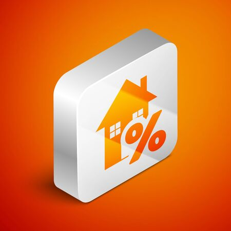 Isometric House with percant discount tag icon isolated on orange background. House percentage sign price. Real estate home. Credit percentage symbol. Silver square button. Vector Illustration Illusztráció