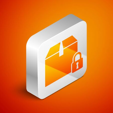 Isometric Locked package icon isolated on orange background. Lock and cardboard box. Silver square button. Vector Illustration Illusztráció