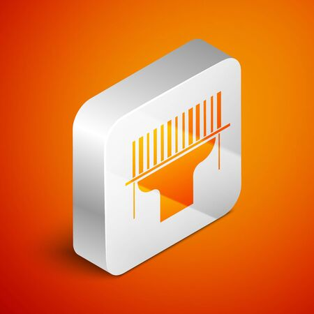 Isometric Scanner scanning bar code icon isolated on orange background. Barcode label sticker. Identification for delivery with bars. Silver square button. Vector Illustration Stock fotó - 133689604