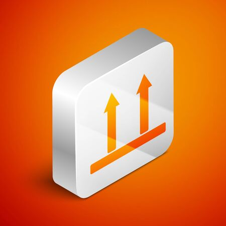 Isometric This side up icon isolated on orange background. Two arrows indicating top side of packaging. Cargo handled so these arrows always point up. Silver square button. Vector Illustration Illustration