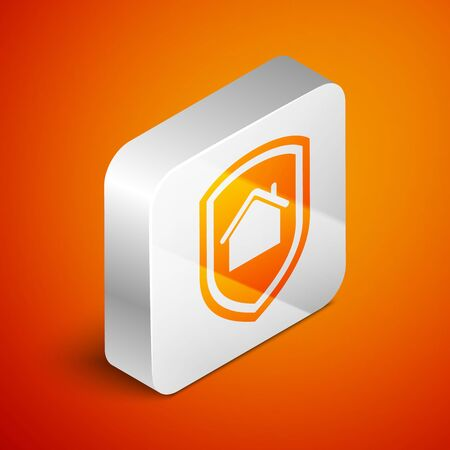 Isometric House under protection icon isolated on orange background. Home and shield. Protection, safety, security, protect, defense concept. Silver square button. Vector Illustration