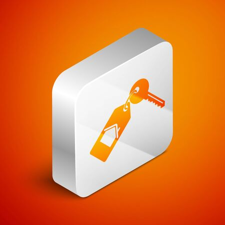Isometric House with key icon isolated on orange background. The concept of the house turnkey. Silver square button. Vector Illustration Illustration