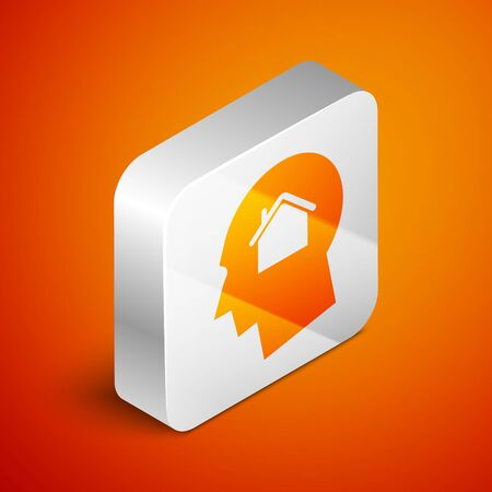 Isometric Man dreaming about buying a new house icon isolated on orange background. Silver square button. Vector Illustration
