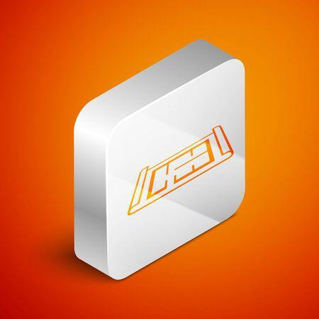Isometric House plan icon isolated on orange background. Silver square button. Vector Illustration Illusztráció