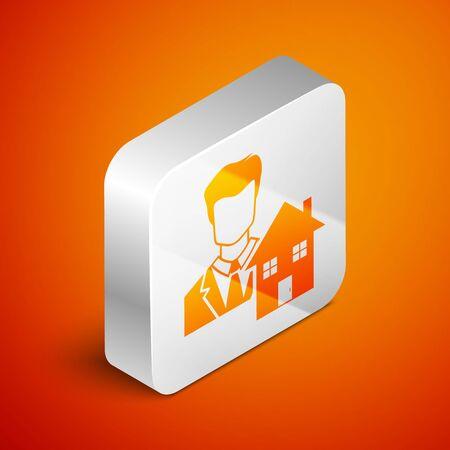 Isometric Realtor icon isolated on orange background. Buying house. Silver square button. Vector Illustration Illusztráció