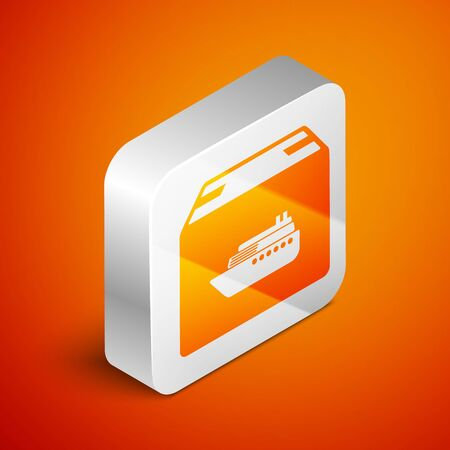 Isometric Cargo ship with boxes delivery service icon isolated on orange background. Delivery, transportation. Freighter with parcels, boxes, goods. Silver square button. Vector Illustration Banque d'images - 133689367
