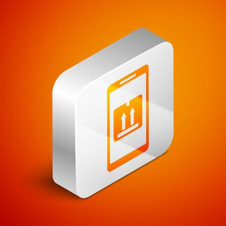 Isometric Mobile smart phone with app delivery tracking icon isolated on orange background. Parcel tracking. Silver square button. Vector Illustration Иллюстрация