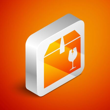 Isometric Delivery package box with fragile content symbol of broken glass icon isolated on orange background. Box, package, parcel sign. Silver square button. Vector Illustration Standard-Bild - 133689410