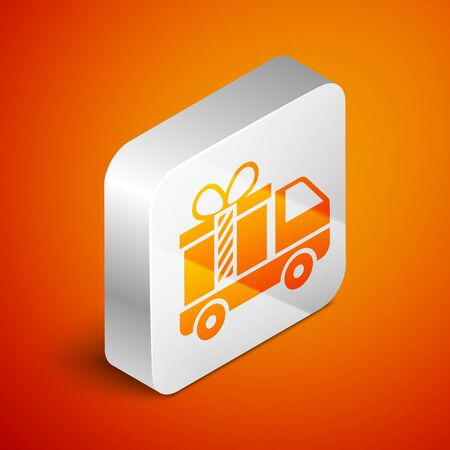 Isometric Delivery truck with gift icon isolated on orange background. Silver square button. Vector Illustration Foto de archivo - 133689406