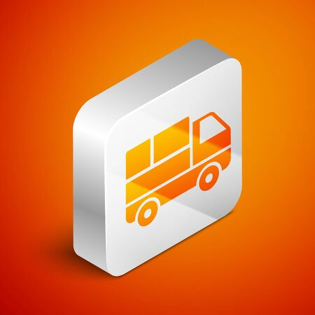 Isometric Delivery truck with cardboard boxes behind icon isolated on orange background. Silver square button. Vector Illustration