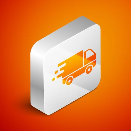 Isometric Delivery truck in movement icon isolated on orange background. Fast shipping delivery truck. Silver square button. Vector Illustration Illustration