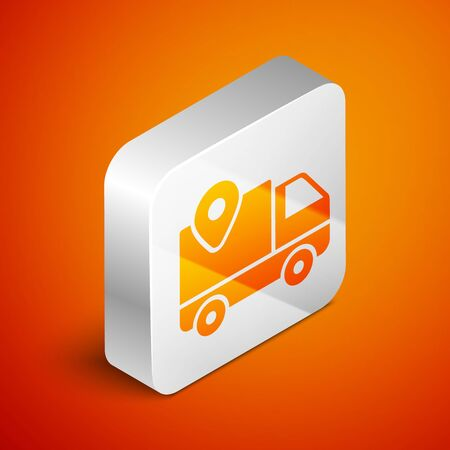 Isometric Delivery tracking icon isolated on orange background. Parcel tracking. Silver square button. Vector Illustration