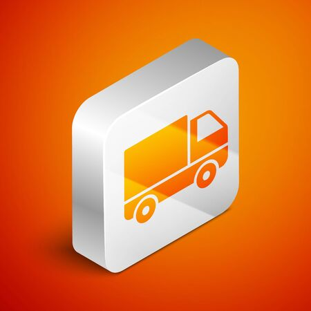 Isometric Delivery cargo truck vehicle icon isolated on orange background. Silver square button. Vector Illustration