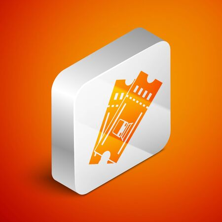 Isometric Train ticket icon isolated on orange background. Travel by railway. Silver square button. Vector Illustration