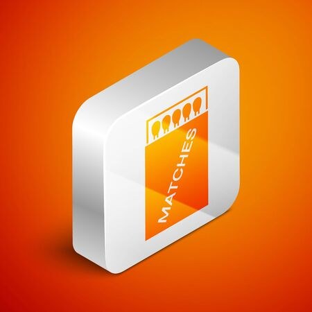 Isometric Open matchbox and matches icon isolated on orange background. Silver square button. Vector Illustration Ilustração