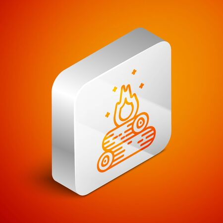 Isometric Campfire icon isolated on orange background. Burning bonfire with wood. Silver square button. Vector Illustration Çizim