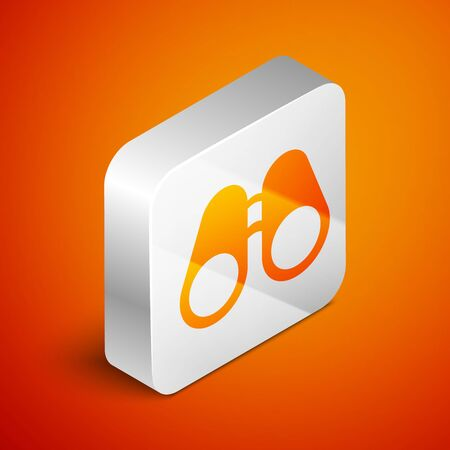 Isometric Binoculars icon isolated on orange background. Find software sign. Spy equipment symbol. Silver square button. Vector Illustration