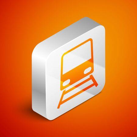 Isometric Train icon isolated on orange background. Public transportation symbol. Subway train transport. Metro underground. Silver square button. Vector Illustration Stock Illustratie