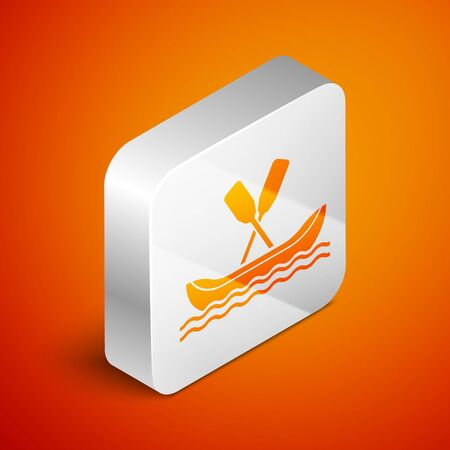 Isometric Rafting boat icon isolated on orange background. Kayak with paddles. Water sports, extreme sports, holiday, vacation, team building. Silver square button. Vector Illustration