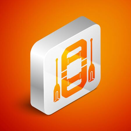 Isometric Rafting boat icon isolated on orange background. Inflatable boat with oars. Water sports, extreme sports, holiday, vacation, team building. Silver square button. Vector Illustration Stock Illustratie