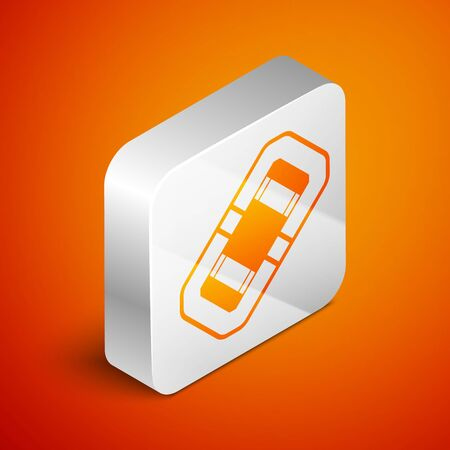 Isometric Rafting boat icon isolated on orange background. Inflatable boat. Water sports, extreme sports, holiday, vacation, team building. Silver square button. Vector Illustration Stock Illustratie