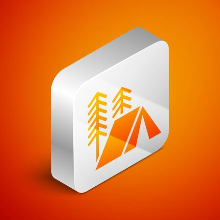 Isometric Tourist tent icon isolated on orange background. Camping symbol. Silver square button. Vector Illustration