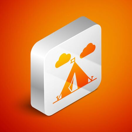 Isometric Tourist tent with flag icon isolated on orange background. Camping symbol. Silver square button. Vector Illustration Çizim
