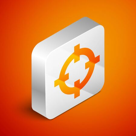 Isometric Target sport for shooting competition icon isolated on orange background. Clean target with numbers for shooting range or shooting. Silver square button. Vector Illustration