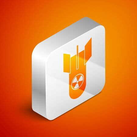 Isometric Nuclear bomb icon isolated on orange background. Rocket bomb flies down. Silver square button. Vector Illustration Ilustrace