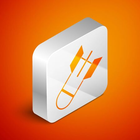 Isometric Aviation bomb icon isolated on orange background. Rocket bomb flies down. Silver square button. Vector Illustration