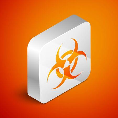 Isometric Biohazard symbol icon isolated on orange background. Silver square button. Vector Illustration