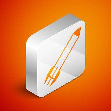 Isometric Rocket icon isolated on orange background. Silver square button. Vector Illustration Illustration