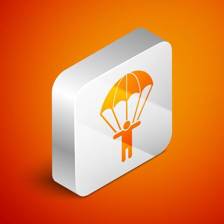 Isometric Parachute and silhouette person icon isolated on orange background. Silver square button. Vector Illustration 向量圖像