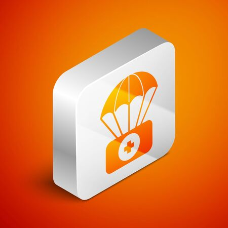 Isometric Parachute with first aid kit icon isolated on orange background. Medical insurance. Silver square button. Vector Illustration