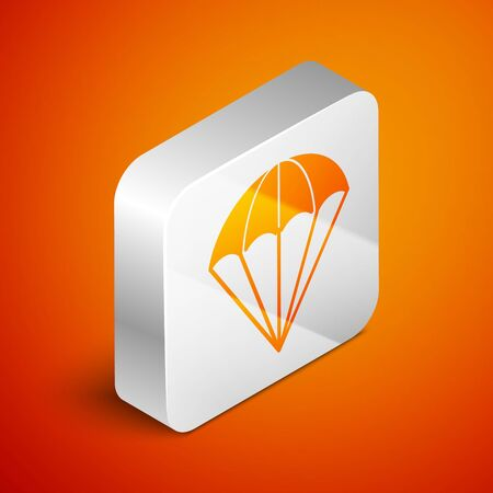 Isometric Parachute icon isolated on orange background. Silver square button. Vector Illustration