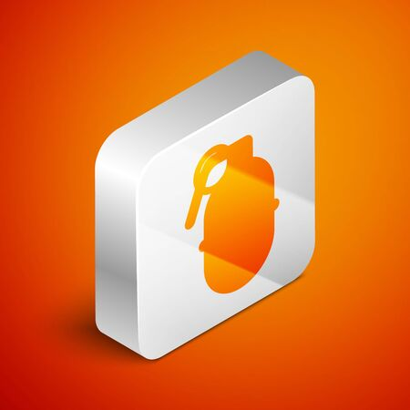 Isometric Hand grenade icon isolated on orange background. Bomb explosion. Silver square button. Vector Illustration